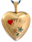 L4001 Mom with flowers heart locket