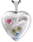 sterling mom with flowers locket