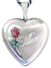 sterling mom locket with rose