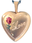 L4004 16 heart locket love rose