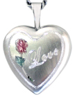 sterling love with rose heart locket