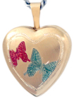 L4005  two butterflies heart locket