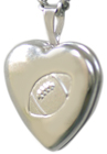 sterling football heart locket