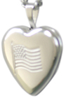 sterling flag heart locket