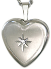 sterling 16 heart locket with stone
