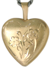 L4026 16 heart locket with flowers