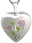 16 heart locket with flowers