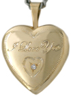 I Love You heart locket with diamond