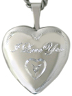 L4028 Love You heart locket and diamond