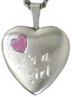 sterling heart locket its a girl