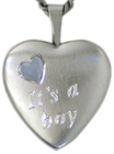 sterling its a boy heart locket