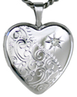 L4051D scroll with diamond heart locket
