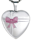 L4064 bow ribbon heart locket