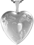 L4093 3 butterflies heart locket