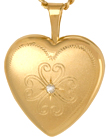 L4099 Fancy 16mm heart locket with diamond