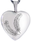 L4104 2 feathers heart locket