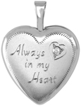 L4113D 16mm heart locket with love and diamond