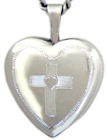 sterling 16 heart locket with cross