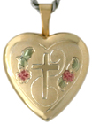 Cross with flowers heart locket