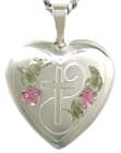 sterling cross with heart locket