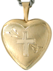 16 heart locket with cross