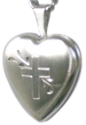 L4013 16mm heart locket with cross