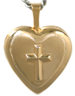 L4027 embossed cross heart locket
