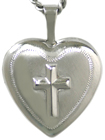 sterling heart locket with embossed cross
