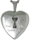sterling 16mm heart locket with communion