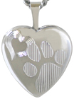 L4048 sterling pet paw locket