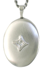 7001silver 16mm oval locket with diamond