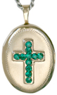 L7007 embossed cross with birthstone oval locket