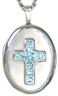 cross with stones oval locket