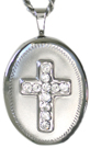 16mm oval locket with cross