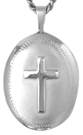 L7008 Embossed 16mm oval locket cross