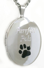 oval cat locket with color paw
