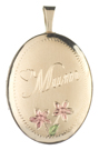 Oval locket with Mum and flowers