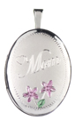 silver mom with flowers oval locket
