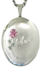 sterling love with rose oval locket