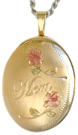 gold oval locket with mom and 2 roses