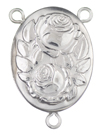 Sterling rose locket rosary center