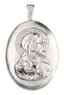 sterling sacred heart oval locket