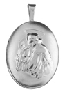 L7036 embossed st anthony oval locket