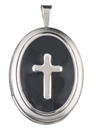 16mm oval cross locket with color