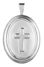 sterling raised cross oval locket