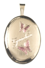 gold grandma with 2 butterflies oval locket