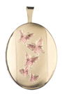 16mm gold oval locket with butterflies