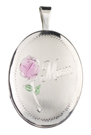 Mom with Rose 16mm oval locket