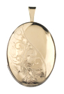 Half Scroll with leaves oval locket