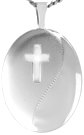 L7081 16mm oval locket with cross